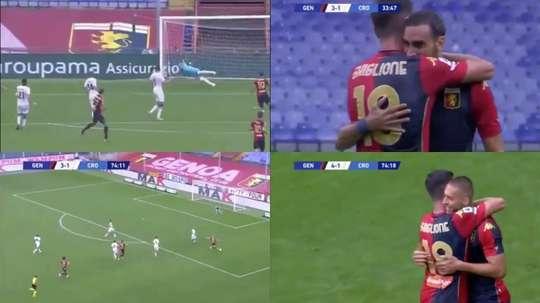 El Genoa venció al Crotone. Capturas/NovaSports
