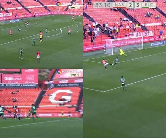 El Nàstic igualó un partido que tenía perdido. Captura/LaLiga1/2/3TV