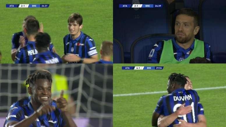El Atalanta se puso 4-1 ante el Brescia. Capturas/MovistarLigadeCampeones