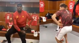 Pogba and James danced in the dressing room. Screenshots/Twitter/OmikunleJoseph5