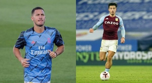 Montage of Jack Grealish and Eden Hazard. AFP/EFE