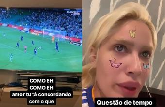 Karoline Lima, muy atenta al Betis-Madrid. Instagram/karolinel