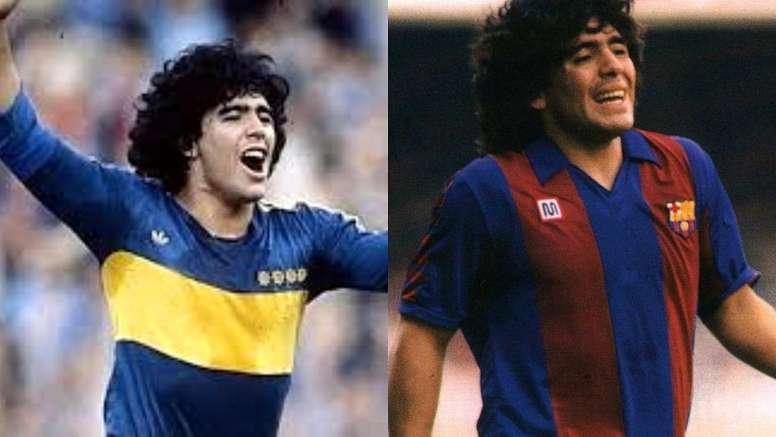 Maradona vistió la camiseta de Boca dos años antes e irse al Barcelona. Montaje/EFE