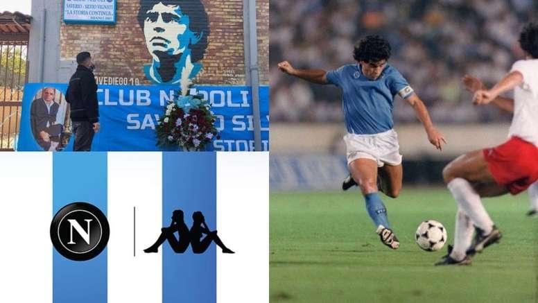 Napoli e sua homenagem especial para o jogo de hoje. AFP/SSCNapoli