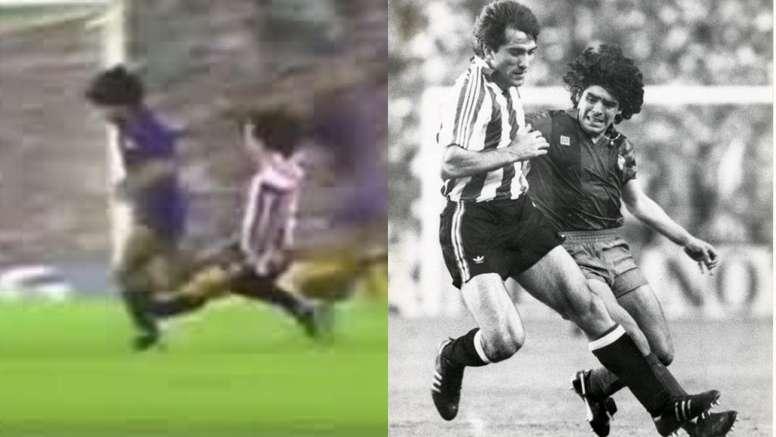 El jugador que mandó a Maradona al quirófano de una patada dio su pésame. Montaje/Captura