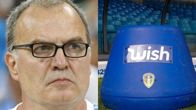 No es una broma: el singular asiento de Bielsa tiene patrocinador. Montaje/EFE/LeedsUnited