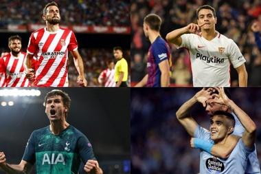 Stuani, Fernando Llorente, Maxi Gómez e Ben Yedder são opções para o Barça. Montaje/BeSoccer