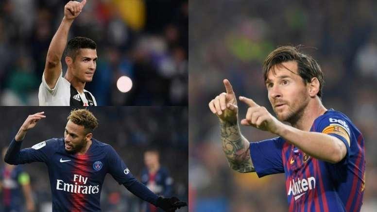 Messi, Cristiano e Neymar são os esportistas mais bem pagos em 2019 segundo a Forbes. BeSoccer