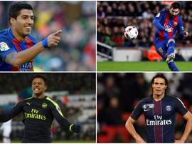 Montage de Messi, Luis Suárez, Alexis Sánchez et Cavani. BeSoccer