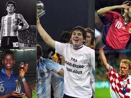 Montage de Messi, Maradona, Pogba, Prosinecki et Raúl. BeSoccer
