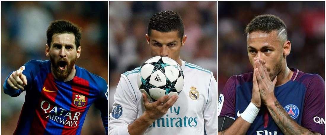 Messi, CR7 e Neymar estão entre o top 10. BeSoccer