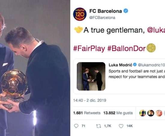 Tweet de Modric deixa rivalidade em segundo plano. Captura/GOL/Twitter