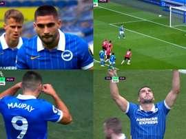 Maupay adelantó al United y Maguire empató. Captura/DAZN