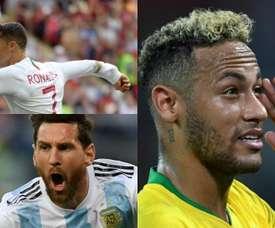 Montagem com Neymar, Cristiano Ronaldo e Messi. BeSoccer