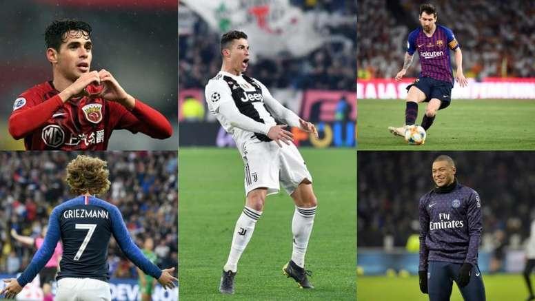 Os 10 jogadores melhor pagos do planeta em 2019, segundo a Forbes. AFP/EFE/BeSoccer