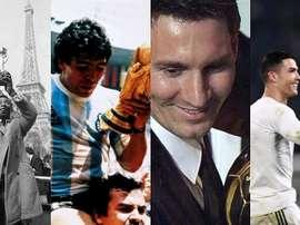 Pelé, Maradona, Messi e Cristiano Ronaldo. Montagem/BeSoccer