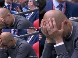 Le sixième but de City semble être un calvaire pour Guardiola. Capture/BTSport