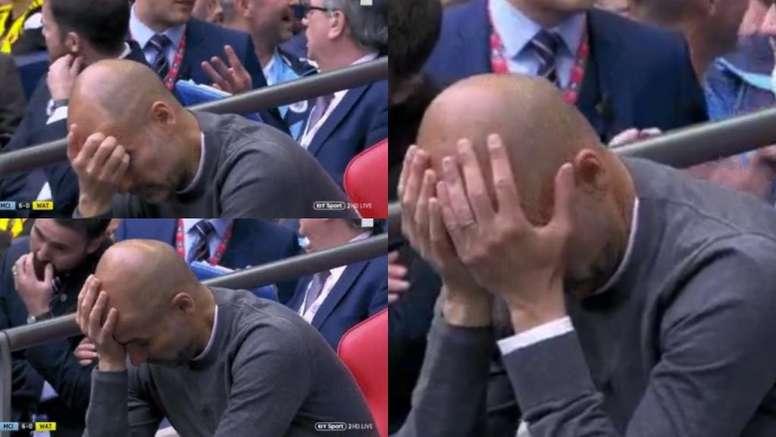 Guardiola reaccionó de forma extraña tras el 6-0. Captura/BTSport