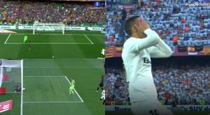 Eccesso di fiducia di Rodrigo e Piqué salva sulla linea. Captura/TVE