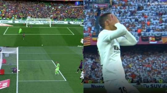 Pique made a brilliant stop to prevent Rodrigo scoring. Captura/TVE