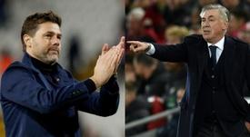 Pochettino y Ancelotti son los dos candidatos al banquillo 'toffee'. Montaje/EFE/AFP