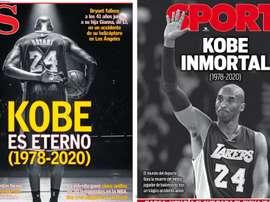 Capas de AS e Sport destacam a morte de Kobe Bryant. AS/Sport