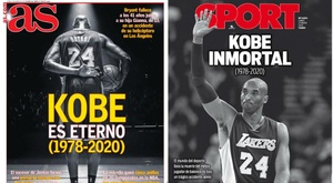 Capas de AS e Sport destacam a morte de Kobe Bryant. AS/Sport