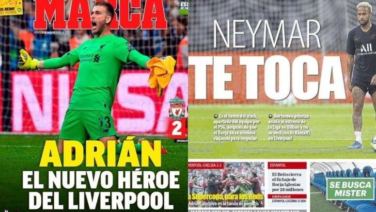 La Une des journaux sportifs en Espagne du 15 août 2019. Marca/MD