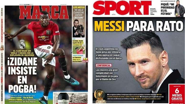 Portadas de la prensa deportiva del 04-12-19. Montaje/Marca/Sport