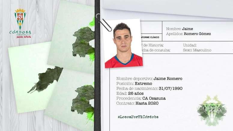 Jaime Romero llega procedente de Osasuna. Córdoba