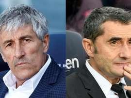 Barcelona de Quique Setién marca menos gols que o de Ernesto Valverde. Montagem/AFP