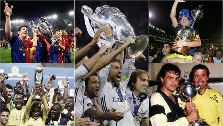 Montage de Real Madrid, Barcelone, Zamalek, Boca Juniors et Peñarol. BeSoccer