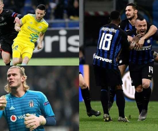 Inter, Astana and Besiktas no longer have to worry about their finances. Montaje/AFP