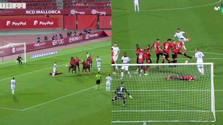 Salva Sevilla evitó el empate del Albacete. Captura/LaLiga1/2/3TV