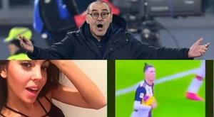 Sarri se intrometeu entre Cristiano e Georgina. Montagem/AFP/Instagram/Georginagio