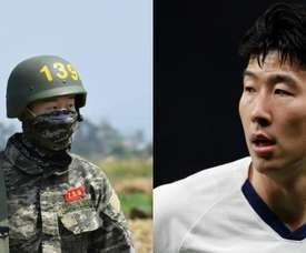 Após serviço militar na Coreia do Sul, Son terá que passar por quarentena. Montaje/AFP/Besoccer