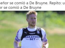 The memes surrouding De Bruyne's seeming weight gain. AFP