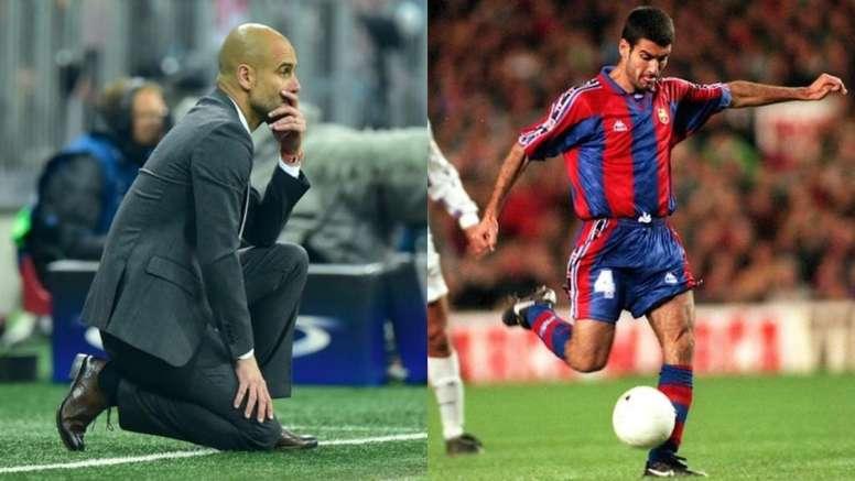 Pep y el Bernabéu: notable alto de entrenador, suspenso de jugador. Montaje/AFP/FCBarcelona