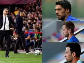 Montagem de Valverde, Suárez, Rakitic y Busquets. EFE/AFP
