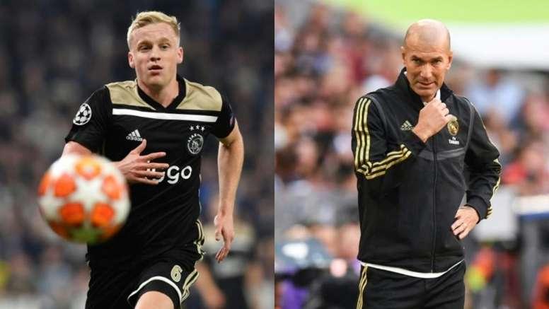 Zidane, el responsable del frenazo a Van de Beek. Montaje/AFP