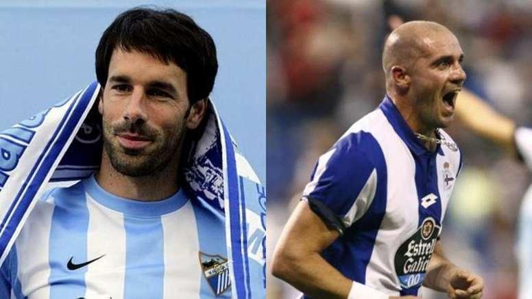 Duelo de míticos goleadores para apoyar a Deportivo y Málaga. Montaje/EFE