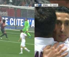 Le PSG s'est mis devant au score par l'intermédiaire de Di Maria. Capture/ESPN