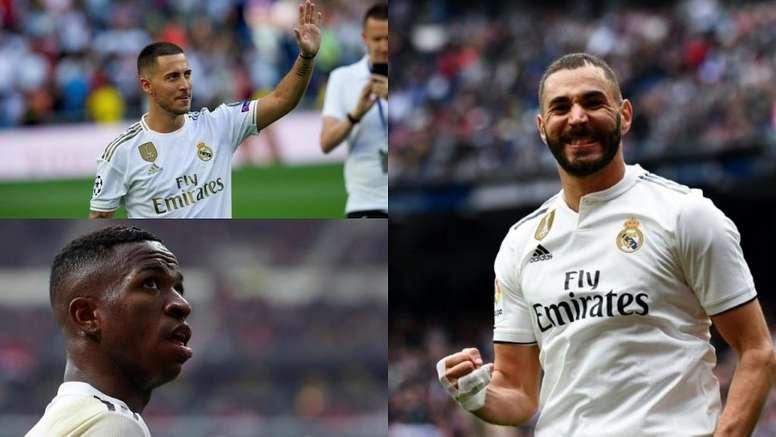 O novo tridente do Real Madrid. Montaje/BeSoccer