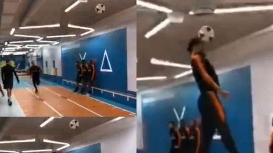 Van Dijk se impulsó para cabecear un balón a tres metros de altura. Captura/Ticure1