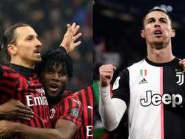 Zlatan Ibrahimovic e Cristiano Ronaldo se enfrentarão no San Siro. AFP/EFE