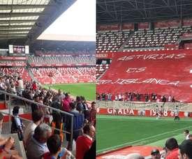 Cientos de aficionados se dieron cita en El Molinón. Twitter/xurdegijon1973-sportingsue
