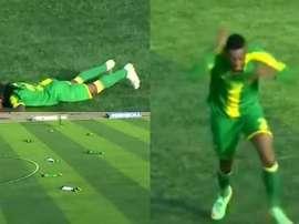 ¡Todos al suelo! Una bandada de avispas interrumpió un partido en Tanzania. Capturas/Twitter/BabaGol
