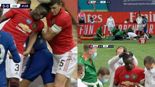 Eric Bailly est sorti sur blessure contre Chelsea. Captures/DAZN