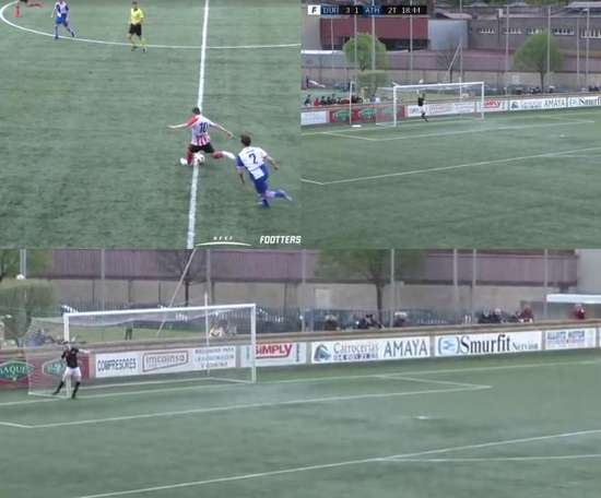 Acción espectacular en el partido entre Cultural de Durango y Bilbao Athletic. Captura/Footters
