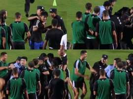 A reação de Cristiano Ronaldo à detenç4ao de um fã. Captura/Goal